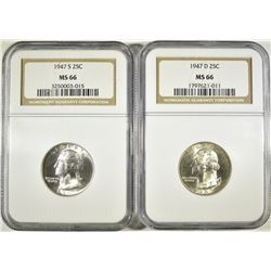 1947-D,S WASHINGTON QUARTERS NGC MS-66