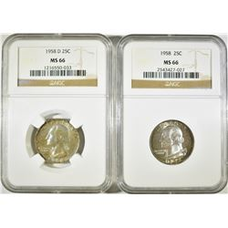 1958-P,D WASHINGTON QUARTERS NGC MS-66 COLOR
