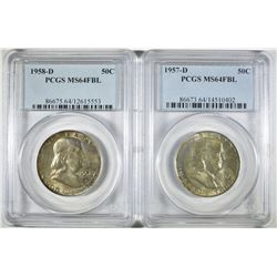 1957-D & 58-D FRANKLIN HALF DOLLARS PCGS MS-64 FBL