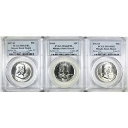 3 PCGS FRANKLIN HALVES OMAHA BANK HOARD FBL