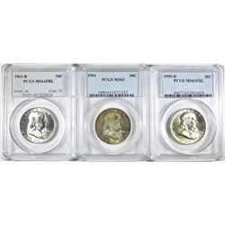3 PCGS GRADED FRANKLIN HALVES