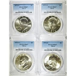 4-1972-S SILVER EISENHOWER DOLLARS, PCGS MS-67