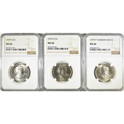 2-NGC GRADED SUSAN B,. ANTHONY DOLLARS
