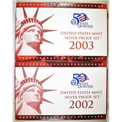 2002 & 2003 U.S. SILVER PROOF SETS ORIG PACKAGING