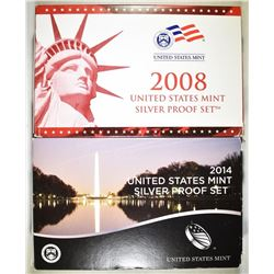 2008 & 2014 U.S. SILVER PROOF SETS  ORIG PACKAGING