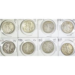 8- DIFFERENT  WALKING LIBERTY HALVES VF/XF