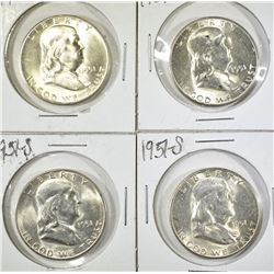4 1951-S FRANKLIN HALVES BU