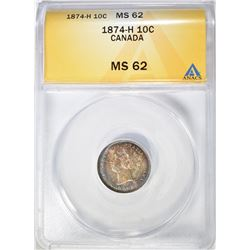 1874-H SILVER 10 CENTS CANADA  ANACS MS-62