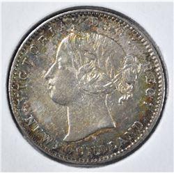 1872 H SILVER 10 CENT NEWFOUNDLAND