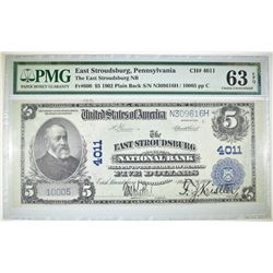 1902 PLAIN BACK $5 NC EAST STROUDSBURG NB PMG 63