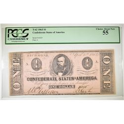 1863 $1 CSA T-62 PCGS 55  SCARCE ISSUE NOTE