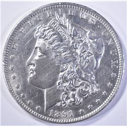 1891-CC  MORGAN DOLLAR  BU CLEANED