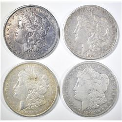4 CIRC MORGAN DOLLARS 1881-S,, 84-O, 1900-O, 02-O