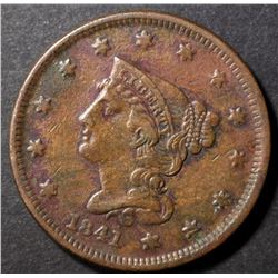 1841 LARGE CENT, VF/XF BETTER DATE
