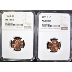 2-1985-D LINCOLN CENTS, NGC MS-68 RED