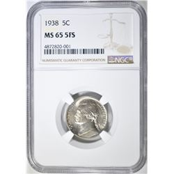 1938 JEFFERSON NICKEL NGC MS 65 5FS