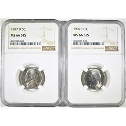 (2) 1997-D JEFFERSON NICKELS NGC