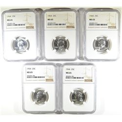 ( 5 ) 1964 WASHINGTON QTR NGC MS-65