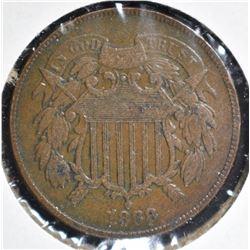 1868 2-CENT PIECE, XF