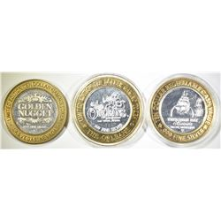 3-SILVER CASINO TOKENS