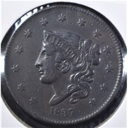 1837 MATRON HEAD LARGE CENT XF