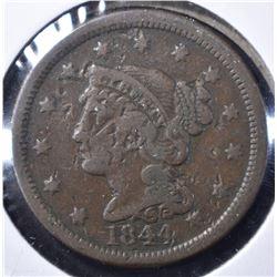 1844/81 LARGE CENT, VG/FINE
