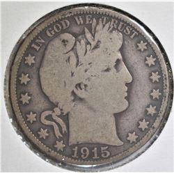 1915 BARBER HALF DOLLAR VG