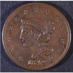 1842 LARGE CENT BU
