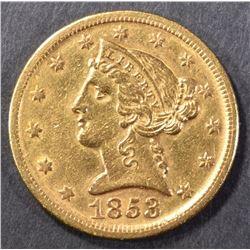 1853-D $5 GOLD LIBERTY AU/BU RARE