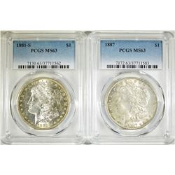 1881-S & 1887 PCGS MS-63 MORGAN DOLLARS