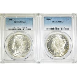 1884-O & 1885-O PCGS MS-63 MORGAN DOLLARS