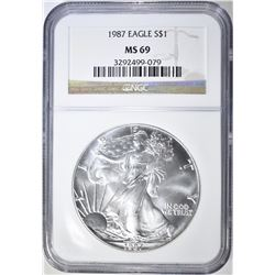 1987 AMERICAN SILVER EAGLE NGC MS-69