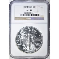 1989 AMERICAN SILVER EAGLE NGC MS-69