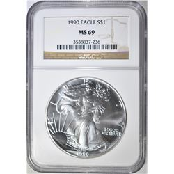 1990 AMERICAN SILVER EAGLE NGC MS-69