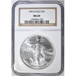 1993 AMERICAN SILVER EAGLE NGC MS-69