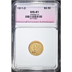 """1911-D STRONG """"D"""" $2.50 GOLD INDIAN"""