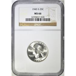 1945-S WASHINGTON QUARTER NGC MS-66