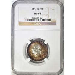 1951-D WASHINGTON QUARTER NGC MS-65 COLOR