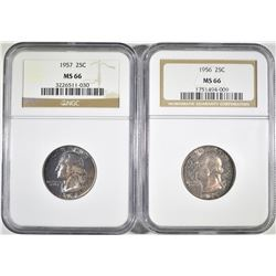 1956 & 57 WASHINGTON QUARTERS NGC MS-66 COLOR