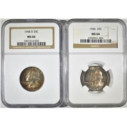 1956 & 58-D WASHINGTON QUARTERS NGC MS-66 COLOR