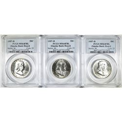 3 1957-D FRANKLIN HALVES PCGS MS-64 FBL OMAHA BANK