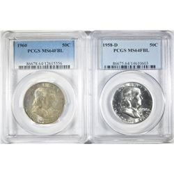 1958-D & 60 FRANKLIN HALF DOLLARS PCGS MS-64 FBL