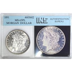 1891 MORGAN DOLLAR, INS GEM BU PL NICE GEM COIN