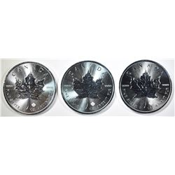 3-BU 2019 CANADIAN SILVER MAPLE LEAF COINS