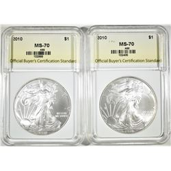 2-2010 AMERICAN SILVER EAGLES, OBCS PERFECT GEM BU