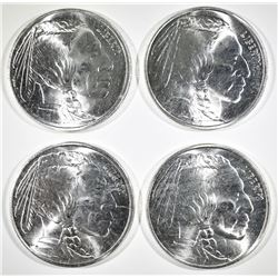 4-INDIAN/BUFFALO 1oz .999 SILVER ROUNDS