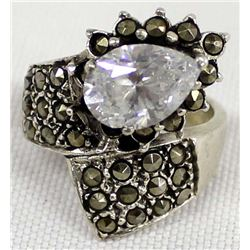 Elegant Sterling Marcasite and Rhinestone Ring