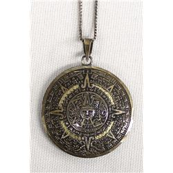 Sterling Silver Mexican Calendar Pendant Necklace