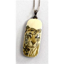 Sterling Silver Scrimshaw Tiger Pendant Necklace
