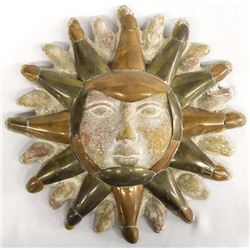 Brass, Copper, and Pottery Sun Wall Decor